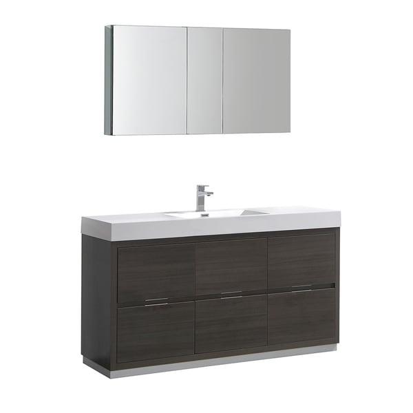 "Fresca Valencia 60"" Gray Oak Free Standing Modern Bathroom Vanity w/ Medicine Cabinet"