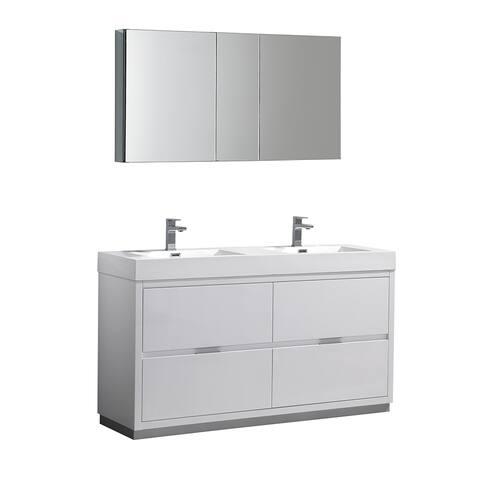 "Fresca Valencia 60"" Glossy White Free Standing Double Sink Modern Bathroom Vanity w/ Medicine Cabinet"