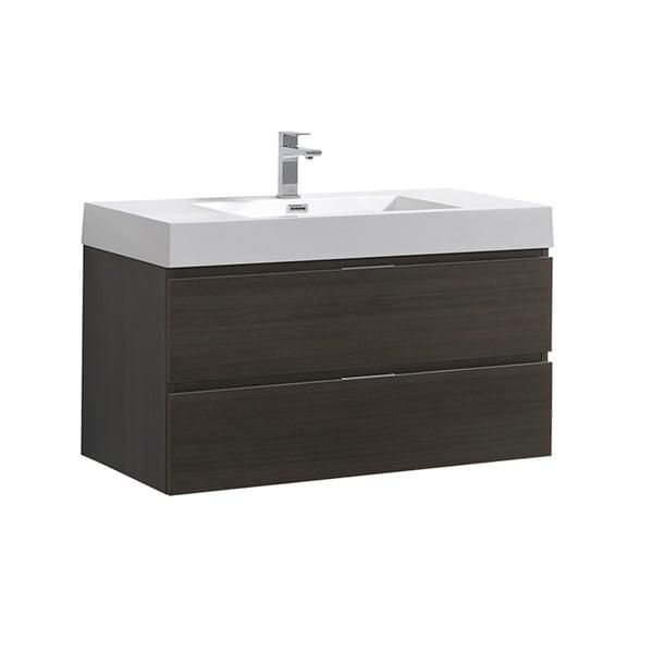 """Fresca Valencia 40"""" Gray Oak Wall Hung Modern Bathroom Vanity"""