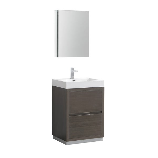 "Fresca Valencia 24"" Gray Oak Free Standing Modern Bathroom Vanity w/ Medicine Cabinet"