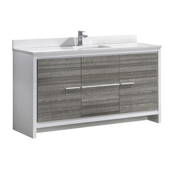 "Fresca Allier Rio 60"" Ash Gray Single Sink Modern Bathroom Vanity w/ Top & Sink"