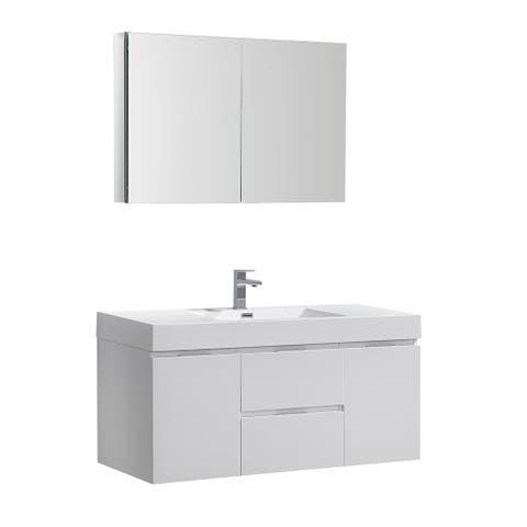 "Fresca Valencia 48"" Glossy White Wall Hung Modern Bathroom Vanity w/ Medicine Cabinet"