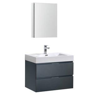 "Fresca Valencia 30"" Dark Slate Gray Wall Hung Modern Bathroom Vanity w/ Medicine Cabinet"