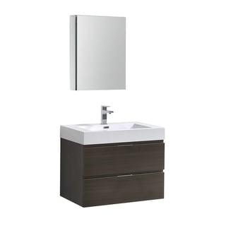 "Fresca Valencia 30"" Gray Oak Wall Hung Modern Bathroom Vanity w/ Medicine Cabinet"