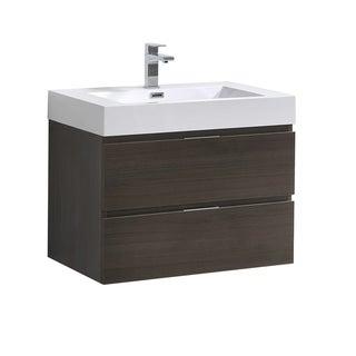 "Fresca Valencia 30"" Gray Oak Wall Hung Modern Bathroom Vanity"