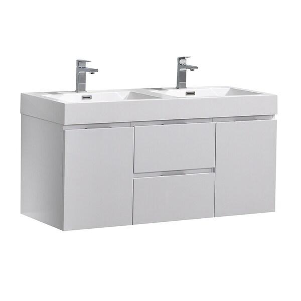 "Fresca Valencia 48"" Glossy White Wall Hung Double Sink Modern Bathroom Vanity"