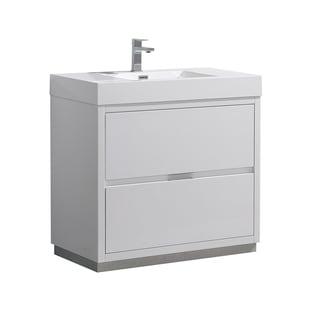 "Fresca Valencia 36"" Glossy White Free Standing Modern Bathroom Vanity"
