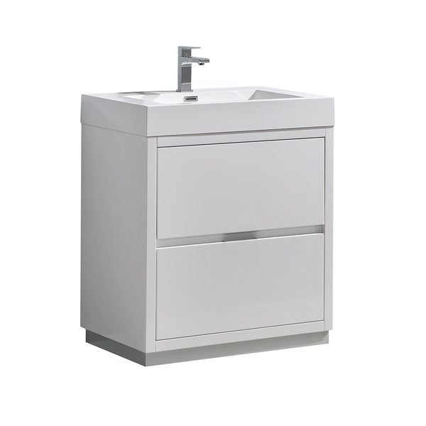 "Fresca Valencia 30"" Glossy White Free Standing Modern Bathroom Vanity"