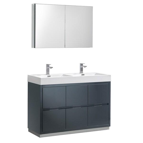 "Fresca Valencia 48"" Dark Slate Gray Free Standing Double Sink Modern Bathroom Vanity w/ Medicine Cabinet"