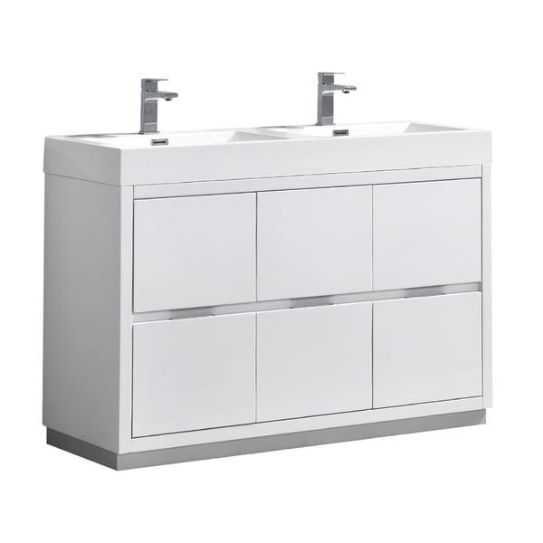 "Fresca Valencia 48"" Glossy White Free Standing Double Sink Modern Bathroom Vanity"