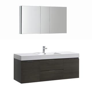 "Fresca Valencia 60"" Gray Oak Wall Hung Modern Bathroom Vanity w/ Medicine Cabinet"