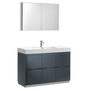 "Fresca Valencia 48"" Dark Slate Gray Free Standing Modern Bathroom Vanity w/ Medicine Cabinet"