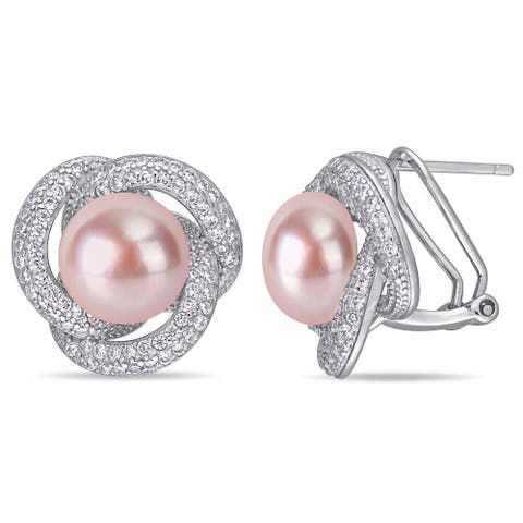Miadora Sterling Silver Pink Cultured FW Pearl and CZ Swirl Halo Earrings (10-11 mm)