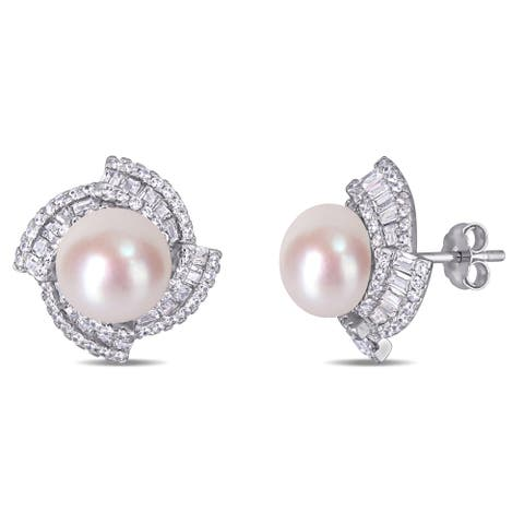 Miadora Sterling Silver Cultured FW Pearl and CZ Swirl Halo Stud Earrings (9-10 mm)
