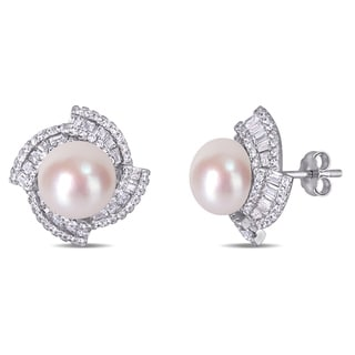 Link to Miadora Sterling Silver Cultured FW Pearl and CZ Swirl Halo Stud Earrings (9-10 mm) Similar Items in Earrings