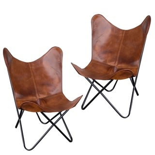 AmeriHome Tan Leather Butterfly Chair (Set of 2)