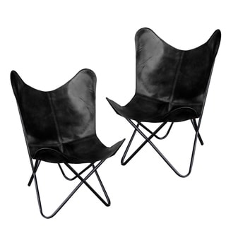 Link to Natural Leather Butterfly Chair in Black, 2 Piece Set Similar Items in Accent Chairs