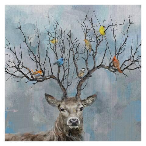 Masterpiece Art Gallery Nearest & Dearest Birds, Deer by Studio Arts Canvas Art Print