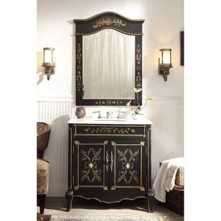 "32"" Benton Collection Decoroso Black Bathroom Vanity with Mirror"