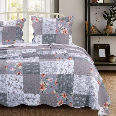 The Gray Barn Spring Arrow Reversible Gray Floral Cotton Quilt Set