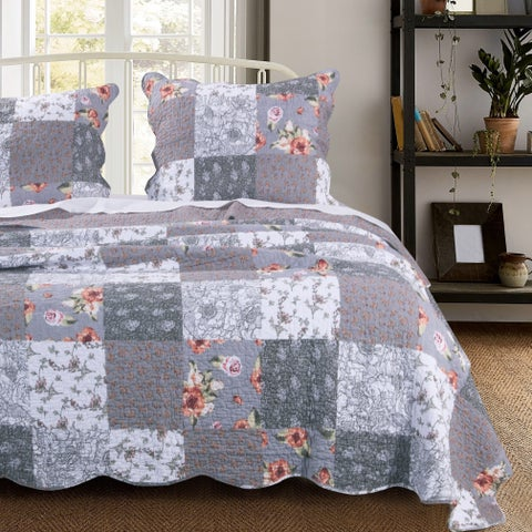 Barefoot Bungalow Giulia Reversible Oversized Cotton Quilt Set, Grey