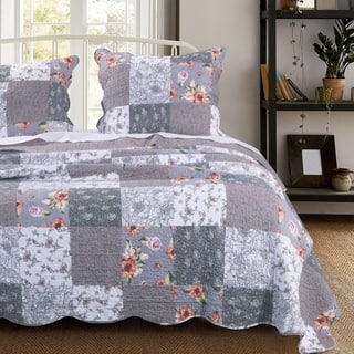The Gray Barn Spring Arrow Reversible Oversized Cotton Quilt Set, Grey
