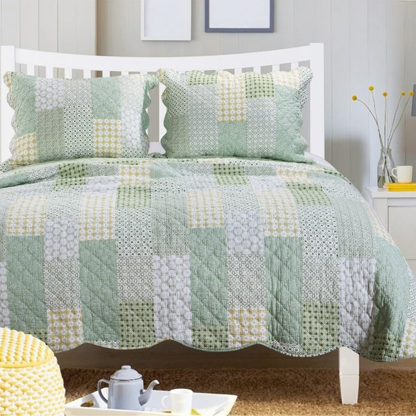 Porch & Den Lebanon Sage Cotton Oversized Reversible Quilt Set. Opens flyout.