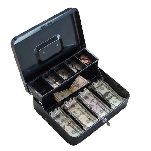 Locking Two-Tiered Cash Box with Steel Construction