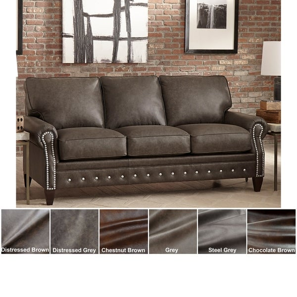 Shop Made in USA Payne Top Grain Leather Sofa - On Sale - Free ...