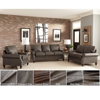 Payne Top Grain Leather Sofa Bed, Loveseat and Chair