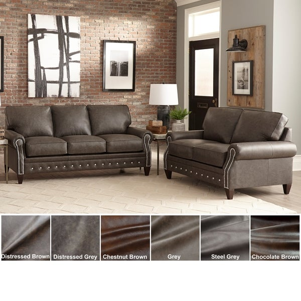 Payne Top Grain Leather Sofa Bed and Loveseat