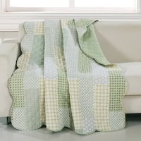 Porch & Den Lebanon Green Reversible Quilted Throw Blanket