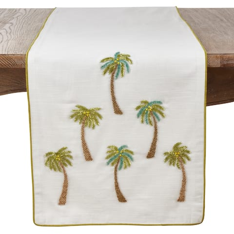 Saro Lifestyle Cotton Table Runner with Beaded Palm Trees