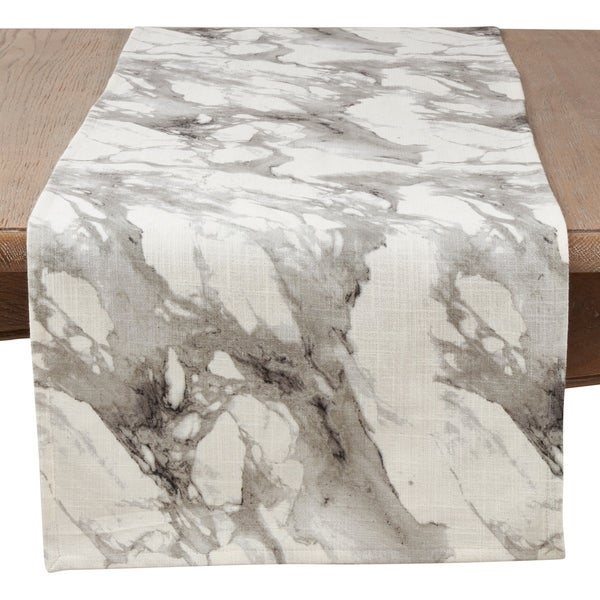 Saro Lifestyle Grey Cotton Marble Print Table Runner