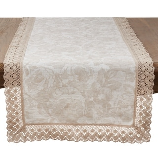 Saro Lifestyle Natural Cotton/Linen Jacquard Table Runner with Lace Trim