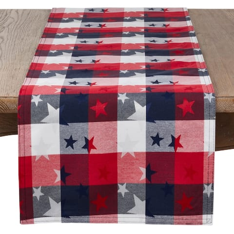 Patriotic Plaid & Star Design Table Runner