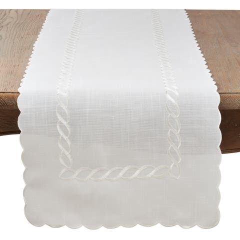 Saro Lifestyle White Linen Blend Braided Embroidered Table Runner