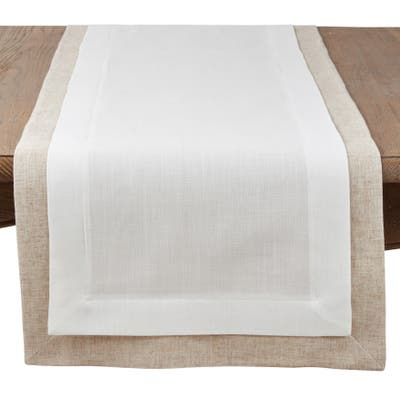 Saro Lifestyle Ivory Linen-blend Double Layer Table Runner with Thick Border Design