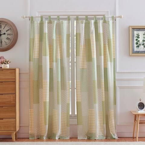 Porch & Den Lebanon Sage Microfiber Curtain Panel Pair (Set of 2) - 84x84
