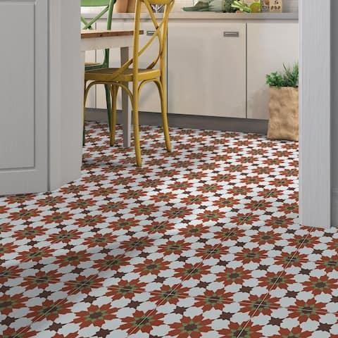 Ahfir in Red, Dark Brown, Green Handmade 8x8-in Moroccan Tile, Pack 12