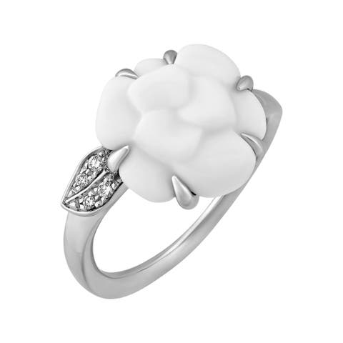 Chanel 18K White Gold White Agate Camelia Flower Diamond Ring