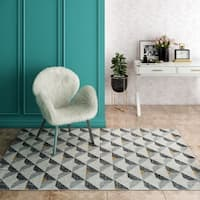 CosmoLiving Aurea Collection Gold Tone Geo rug