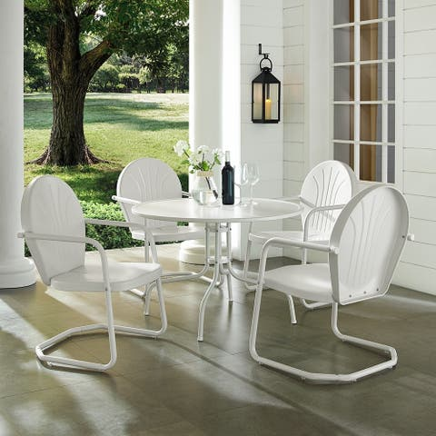 Howard Bay White Metal 5-piece Outdoor Dining Set with 39-inch Table and White Chairs by Havenside Home