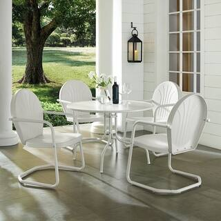 Havenside Home Howard Bay White Metal 5-piece Outdoor Dining Set with 39-inch Table and White Chairs