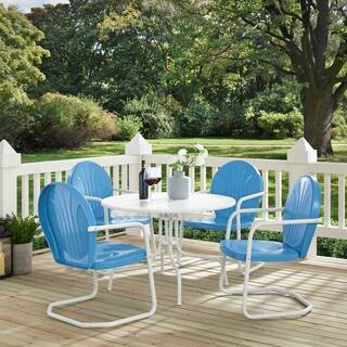 Havenside Home Howard Bay White Metal 5-piece Outdoor Dining Set with 39-inch Table and Blue Chairs