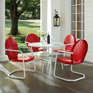 "Griffith Metal Five Piece Outdoor Dining Set - 39"" Dining Table In White Finish With Red Finish Chairs"