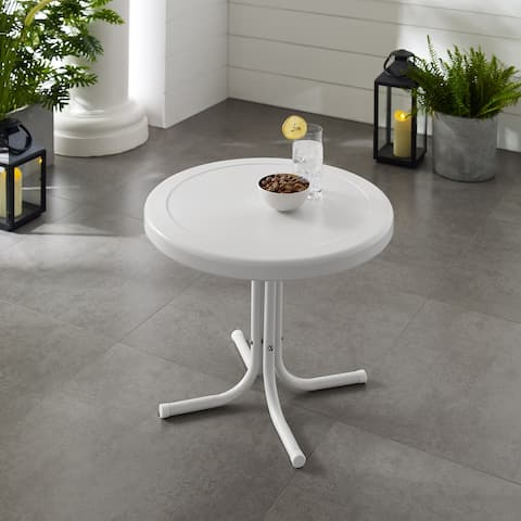 Retro Metal Side Table In Alabaster White