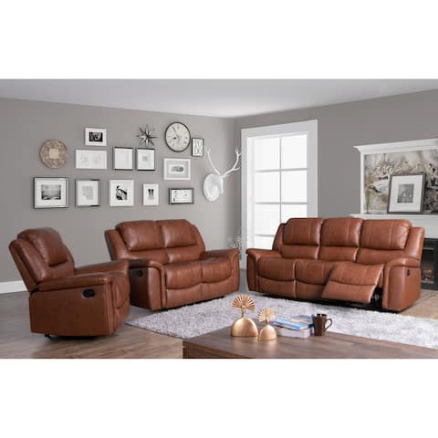 Copper Grove Forbach Top-grain Leather 3-piece Reclining Set