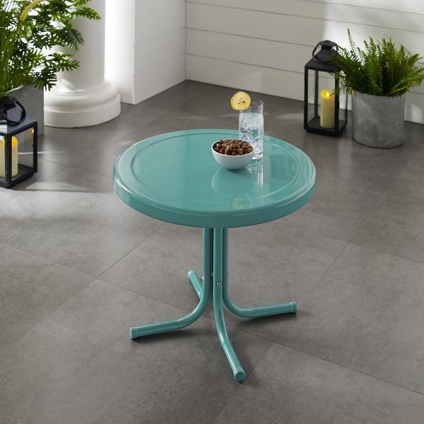 Retro Metal Side Table In Caribbean Blue