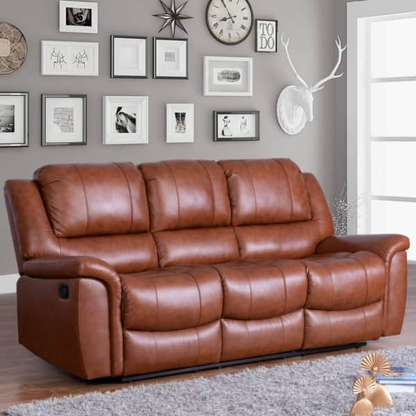 Awe Inspiring Shop Copper Grove Forbach Top Grain Leather Reclining Sofa Gmtry Best Dining Table And Chair Ideas Images Gmtryco